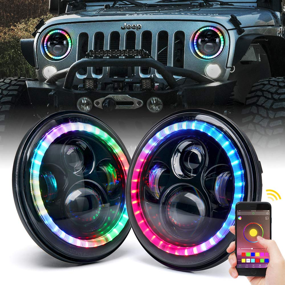 Xprite 7 Inch 90W CREE RGB LED Headlights Bluetooth Control with Multi-Color Chasing Dancing Halo Ring for 1997-2018 Jeep Wrangler TJ JK