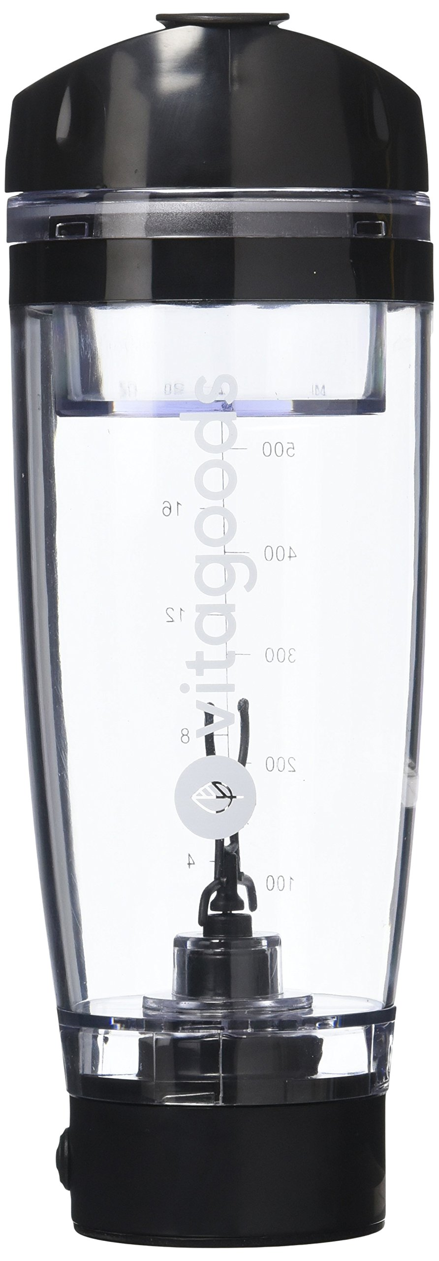 Vitagoods FitMix Pro Portable Mixer Shaker Bottle - Battery Powered, Leakproof and BPA-Free Construction - 600ml, Black