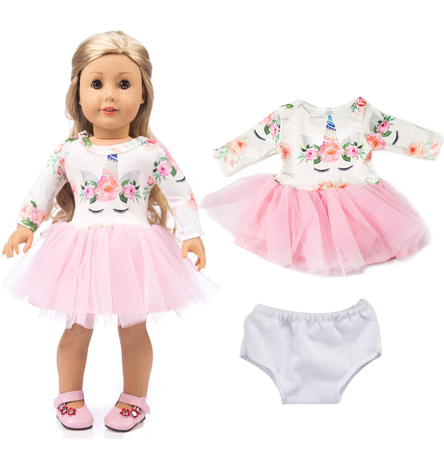 ebuddy Pink Long Sleeve Veil Soft Cotton Unicorn Doll Dress Clothes with Underwear for 18 inch American Girl, Journey Girl Dolls, Our Generation Dolls