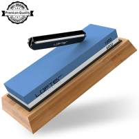 Knife Sharpening Stone, LOFTER Professional Knife Sharpener 1000/6000 2 Side Grit Whetstone, Premium Waterstone Kit with Non-Slip Bamboo Base & Angle Guide, Best Wet Stone Kitchen knife Sharpening Kit