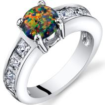 Created Black Opal Mezzo Channel Ring Sterling Silver 1.00 Carats Sizes 5 to 9