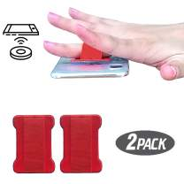 [2pc] Finger Strap Phone Holder - Ultra Thin Anti-Slip Universal Cell Phone Grips Band Holder for Back of Phone (Red)