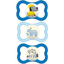 MAM Sensitive Skin Pacifiers, Baby Pacifier 16+ Months, Best Pacifier for Breastfed Babies, Air Night & Day' Design Collection, Boy, 3Count, Multi