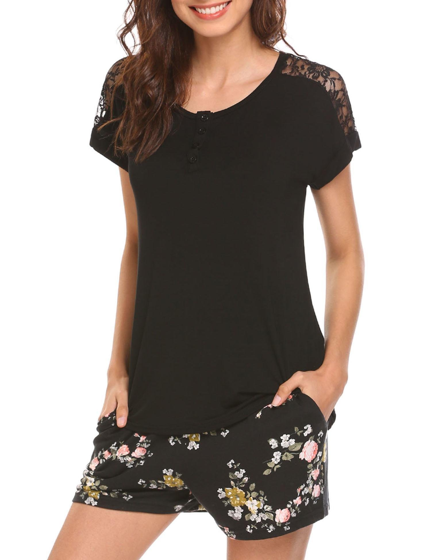 MAXMODA Women's Pajama Set Floral Short Sleeve Sleepwear Pjs Sets Ladies 2-Piece Nightwear