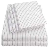 Sweet Home Collection Queen Sheets-6 Piece 1500 Thread Count Fine Brushed Microfiber Deep Pocket Set-2 EXTRA PILLOW CASES, VALUE, Pinstripe White