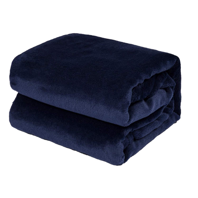 TILLYOU Micro Fleece Plush Baby Blanket Large Lightweight Crib Blanket for Toddler Bed, Super Soft Warm Kids Blanket for Daycare Preschool, Fluffy Fuzzy Flannel Nap Blanket Oversized, 39x47 Navy Blue