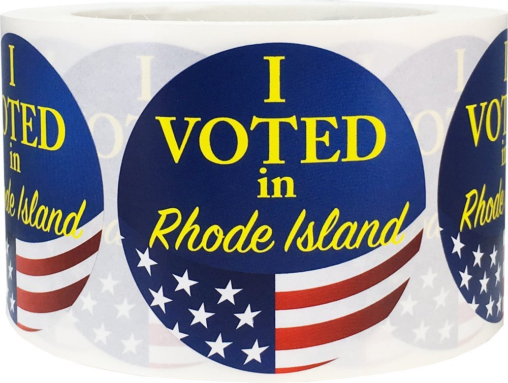 I Voted in Rhode Island Stickers for Election Day 2.5 Inch Round Circle Dots 500 Total Adhesive Stickers