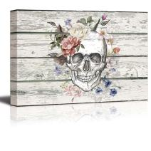 """wall26 - Canvas Prints Wall Art - Skull/Skeleton with Flowers on Vintage Wood Background Rustic Home Decoration - 12"""" x 18"""""""
