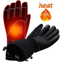 Autocastle Men Women Electric Heated GlovesTouchscreen Heating Gloves with 2200mAh Li-Po Battery,Heat Insulated Thermal Gloves for Climbing Hiking Skiing,3 Heat,Hand Warmer,Black