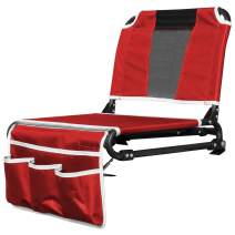 Creative Outdoor 2 in 1 Folding Bleacher Chair | Great for Sports Events, Beach Trips & Camping | Red