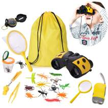 Outdoor Adventure Kit 22 Pack Outside Toys Explorer Set Kids Camping Gear Education Toys, Binocular Flashlight Magnifying Glass Bug Catcher Compass Whistle Backpack Great Gift for Boys Girls (Yellow)