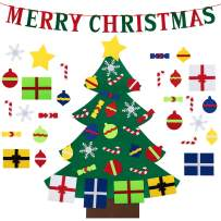 3ft DIY Felt Christmas Tree for Toddlers 28 Pcs Set with Merry Christmas Banner & Door Wall Hanging Felt Ornaments Gifts for Xmas Decorations