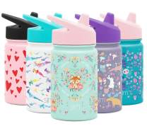Simple Modern Kids Summit Sippy Cup Thermos 10oz - Stainless Steel Toddler Water Bottle Vacuum Insulated Girls and Boys Hydro Travel Cup Flask -Fox and the Flower Purple