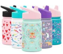 Simple Modern Kids Summit Sippy Cup Thermos 10oz - Stainless Steel Toddler Water Bottle Vacuum Insulated Girls and Boys Hydro Travel Cup Flask Fox and the Flower Purple