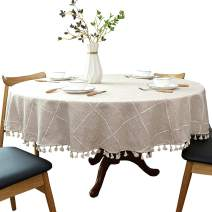 """Heavy Weight Cotton Linen Tablecloth, Plaid Tassel Round Table Cover for Kitchen Dining Room Tabletop Decorations, Round - 48"""", Beige"""