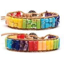 Jovivi Imperial Jasper Chakra Bracelet Handmade Bohemian Boho Woven Yoga Leather Sunflower Adjustable Wrap Bead Bracelet for Girls Friendship Gifts