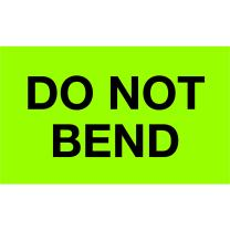 """Tape Logic TLDL2343 Labels""""Do Not Bend"""", 3"""" x 5"""", Fluorescent Green, 1 Roll of 500 Labels"""