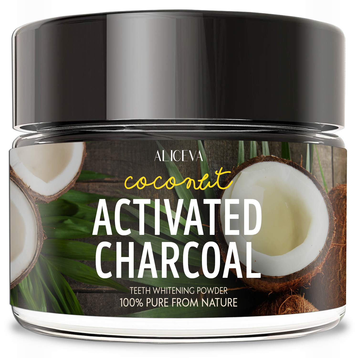 Aliceva Teeth Whitening Activated Charcoal Powder with Xylitol - 2.2 oz Food Grade Formula from Organic Coconut Shell - Spearmint Flavor - Naturally Teeth Whitener Tooth Stain Remover - 60ML
