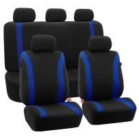 FH Group FB054BLUE115 Blue Cosmopolitan Flat Cloth Seat Cover (Airbag Ready Split Bench Full Set)