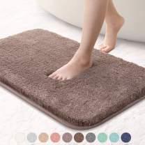 "VANZAVANZU Bathroom Rugs 20""x32"" Ultra Soft Absorbent Non Slip Fluffy Thick Microfiber Cozy Bath Mat for Tub Shower Bathroom Floors Accessories (Taupe)"