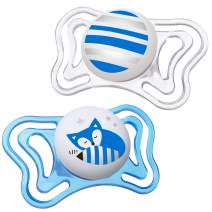 Chicco PhysioForma Light Day & Night including Glow In Dark Pacifier for Babies 6-16m, Blue, Orthodontic Nipple, BPA-Free, 2-count in Sterilizing Case