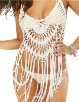 shermie Women's Handmade Crochet Swimsuit Cover UPS Short Halter Beach Dresses with Tassels