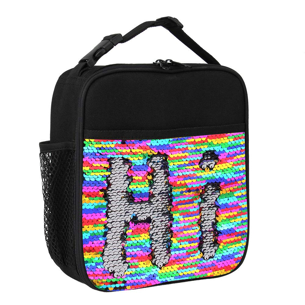 Insulated Mermaid Lunch Box, Reversible Sequin Flip Color Change Fashion Lunch Tote, Perfect for Working Women or Kids (Rainbow002)