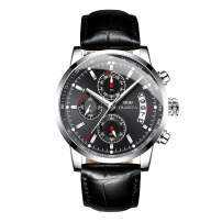 OLMECA Men's Sports Watch Fashion Dress Casual Quartz Watches Stainless Steel Chronograph Date Waterproof Wrist Watch for Men Genuine Leather Strap Black Color 828pd