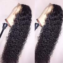 BEEOS 360 Lace Frontal Wigs Human Hair Deep Curly Wig Pre Plucked with Baby Hair Bleached Knots Free Part Natural Color Real Unprocessed Brazilian Hair for Black Women with New Detachable Band 18 Inch