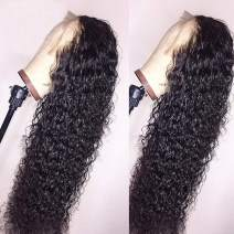 BEEOS 360 Lace Frontal Wigs Human Hair Deep Curly Wig Pre Plucked with Baby Hair Bleached Knots Free Part Natural Color Real Unprocessed Brazilian Hair for Black Women with New Detachable Band 20 Inch