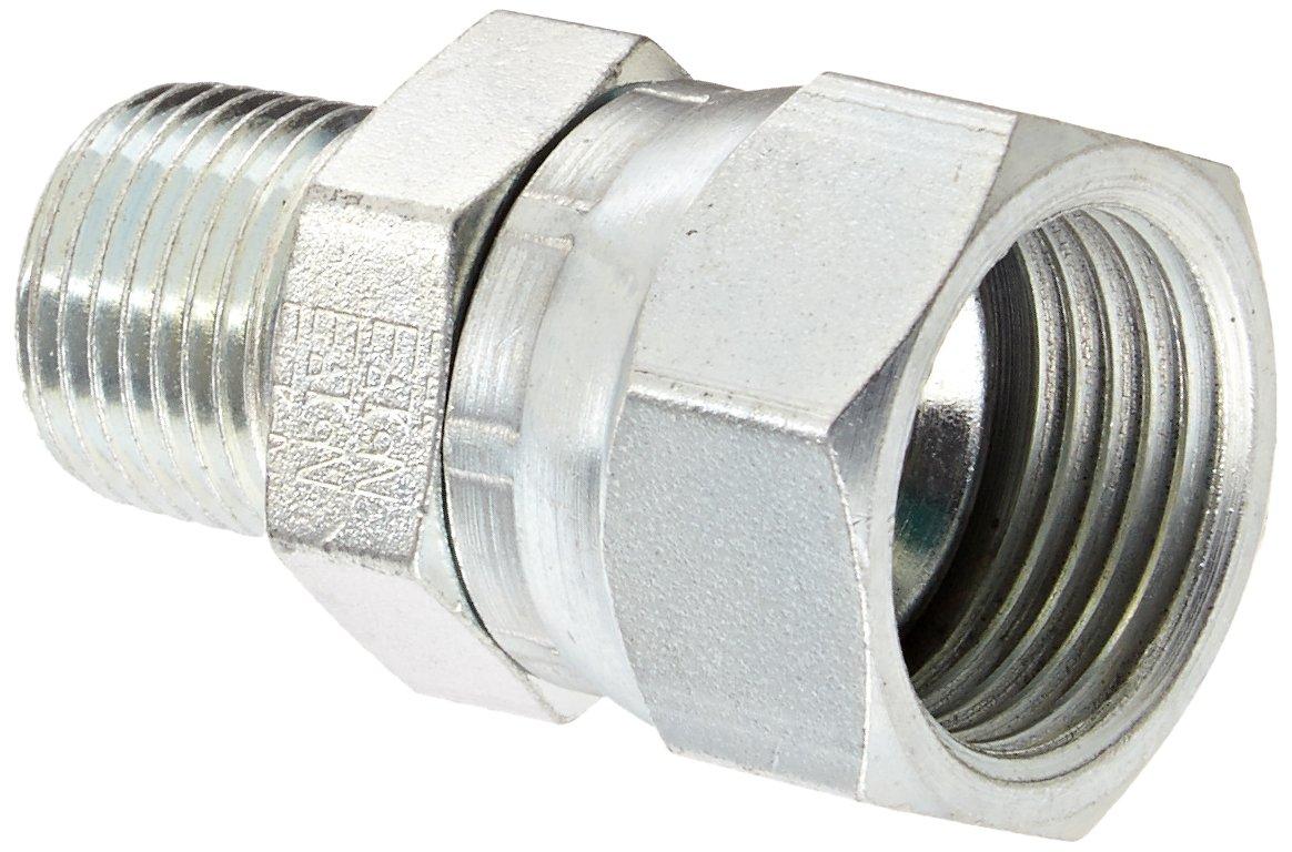 "Eaton Weatherhead 9100X12X8 Carbon Steel SAE 37 Degree (JIC) Flare-Twin Fitting, Swivel, Adapter, 1/2"" NPT Male x 3/4"" JIC Female"