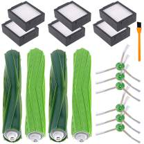 Hongfa E5 E6 E7 i7 i7+/ Plus Replacement Parts for iRobot Roomba, e Series and i Series Replenishment Parts,Include : 2 Sets Rubber Brushes,6 Filters 6 Side Brushes with Screw