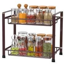 Spice Rack 2-Tier iSPECLE Kitchen Bathroom Organizer Countertop Storage Shelf Holder Standing Rack