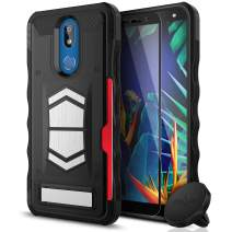 ZIZO Electro Series Compatible with LG K40 and LG Harmony 3 with Tempered Glass, Card Slot, Built in Magnet, Air Vent Magnetic Holder Black
