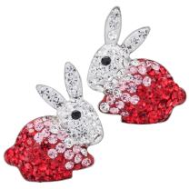 YACQ Women's 925 Sterling Silver Crystal Bunny Stud Earrings - 3/5 X 3/5 Inch - Ultra Light - Easter Costume Jewelry Accessories Gifts for Women Girls