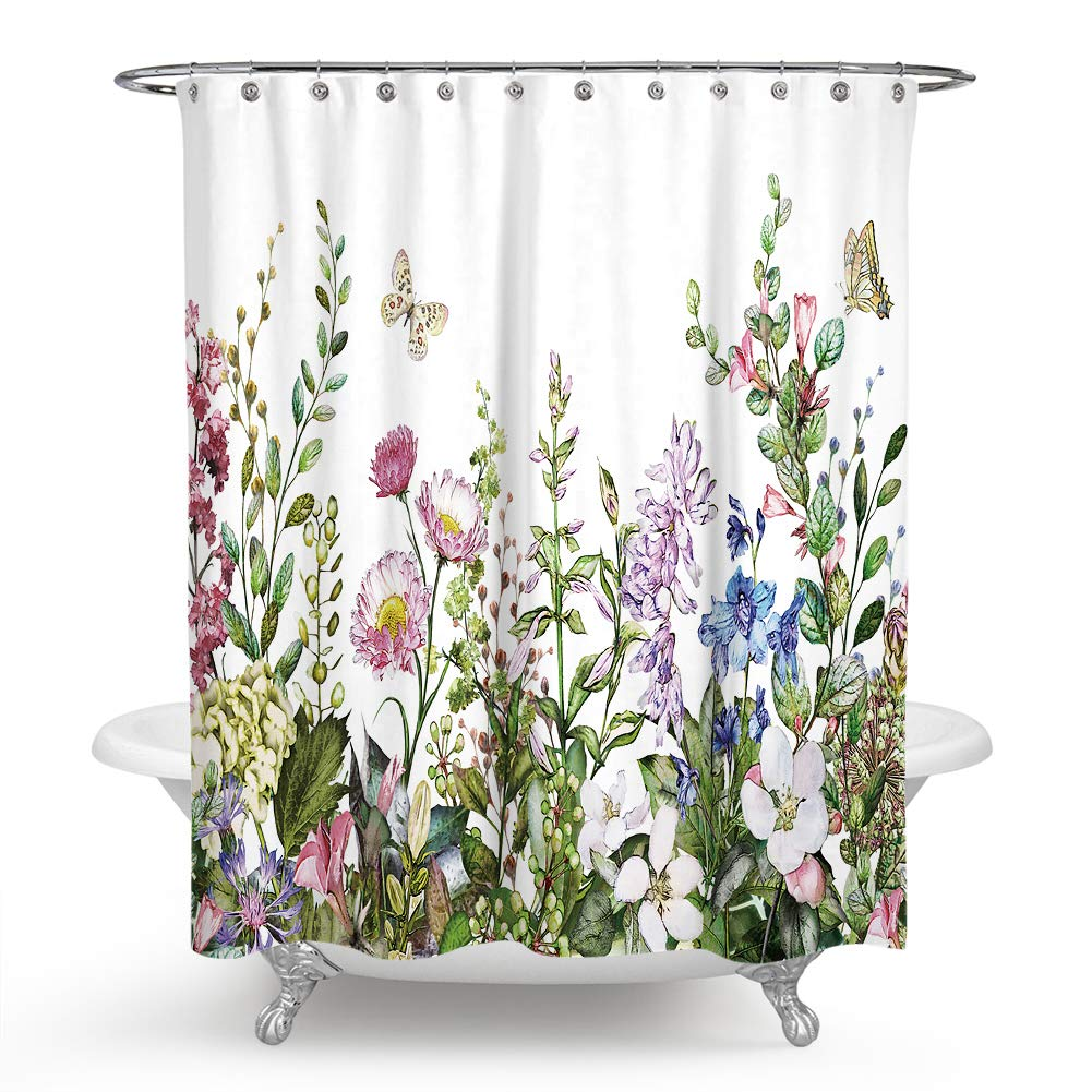 QCWN Flower Shower Curtain, Colorful Floral Border Herbs and Wild Flowers Botanical Engraving Style Shower Curtain Set with Hooks for Bathroom Décor.59x70Inch
