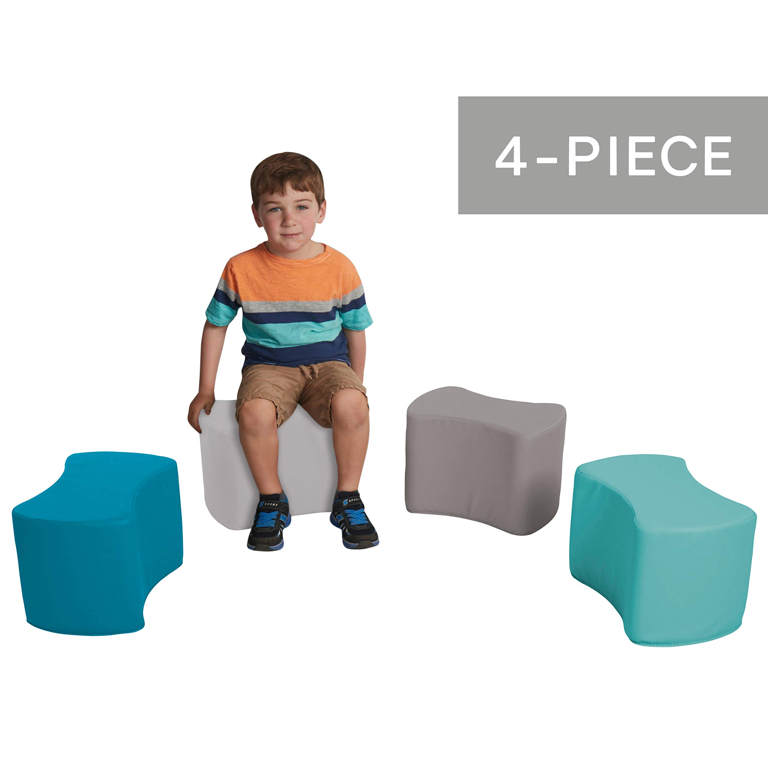 FDP SoftScape Butterfly Stool Modular Seating Set for Toddlers and Kids, Colorful Flexible Seating for Classrooms and Daycares (4-Piece Set) - Contemporary