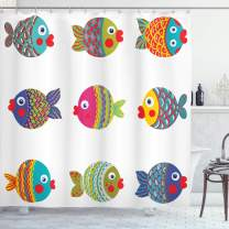 "Ambesonne Ethnic Shower Curtain, Boho Featured Ornate Fishes Gills Under The Sea Childish Kids Nursery Theme, Cloth Fabric Bathroom Decor Set with Hooks, 84"" Long Extra, White and Green"