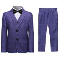 Boys Plaid Formal Suit Set 3 Pieces Blazer Vest Pants Single-Breasted Stripe Jacket Wedding