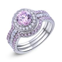 Newshe Engagement Wedding Ring Set for Women 925 Sterling Silver 3pcs Created Pink Sapphire Sz 5-10