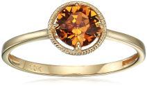 10k Gold Round-Cut Birthstone Ring made with Swarovski Crystal
