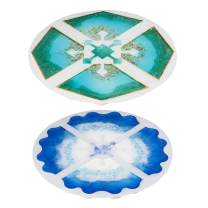 LET'S RESIN Silicone Resin Molds, 2PCS Interlocked Coaster Molds, Epoxy Resin Molds for DIY Resin Agate Geode Slice Coasters, Jewelry Holders Dish, Home Decoration