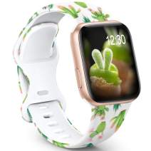 GeekSpark Sport Band Compatible with Apple Watch Bands 38mm 40mm 42mm 44mm for Women Men, Floral Printed Fadeless Pattern Silicone Replacement Strap Band for iwatch SE/Series 6/5/4/3/2/1