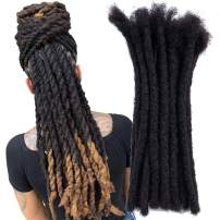 YONNA Human Hair Dreadlocks Extensions Handmade Locs Extensions Human Hair Medium Size 0.8cm Width(0.32inch)-Sold 60locs in a Bundle Natural Black #1B 12inch