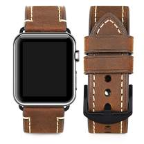 Compatible for Apple Watch Band 42mm 44mm Men,Top Grain Leather Band Replacement Strap iWatch Series 4/3/ 2/1,Sport, Edition. New Retro discoloured Leather (dark brown/Black buckle, 42mm44mm)