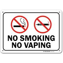 """No Vaping Sign, No Smoking Sign, Outdoor Rust-Free Metal, 7"""" X 10"""" - by My Sign Center, A81-427AL"""