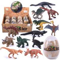 Gemini&Genius 12 Pcs Jurassic World Dinosaur Playset Eggs Action Figures The Dinosaurs World Model Early Science Education and Collectible Toys Perfect for Cake Toppers