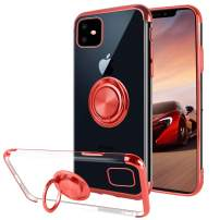 Ownest Compatible with iPhone 11 Case with Built-in 360 Rotatable Ring Kickstand Fit Magnetic Car Mount and Clear Slim TPU for iPhone 11(6.1 Inch)-Red