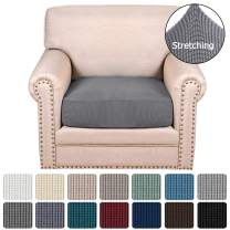 H.VERSAILTEX Super Stretch Stylish Cushions Covers/Furniture Cover Spandex Jacquard Small Checked Pattern Super Soft Slipcover Washable Individual (1-Piece Chair Cushion, Gray)