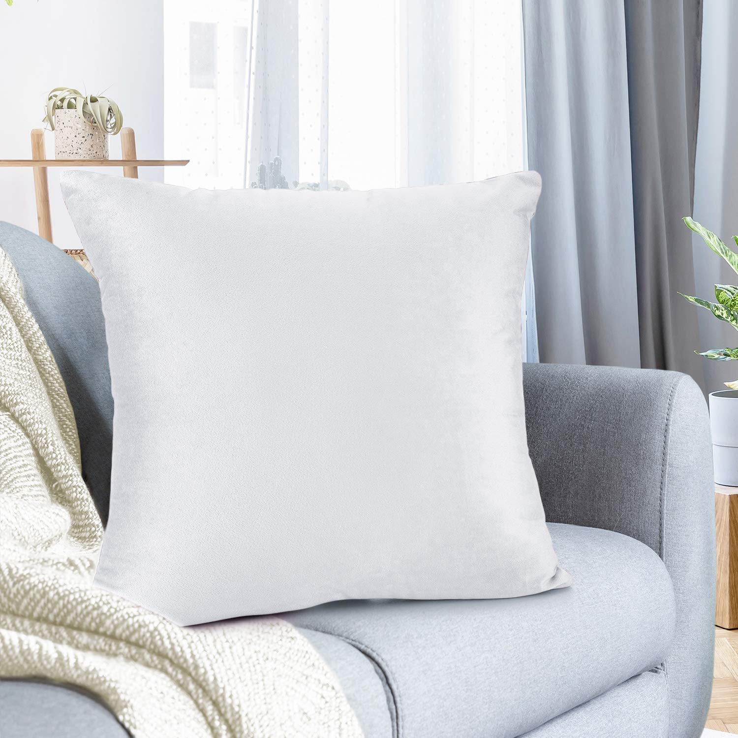 """Nestl Bedding Throw Pillow Cover 20"""" x 20"""" Soft Square Decorative Throw Pillow Covers Cozy Velvet Cushion Case for Sofa Couch Bedroom - White"""